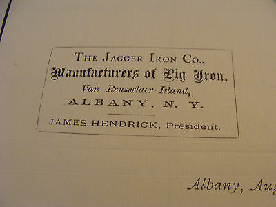 Vintage Original Paper:1878 THE JAGGER IRON CO. manufactures of PIG IRON letter