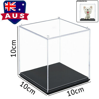 AU Clear Acrylic Display Box Perspex Case Plastic Base Dustproof Protection 10cm