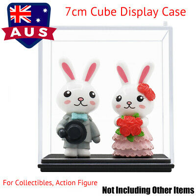 AU Acrylic Display Case Clear Perspex Box Plastic Base Dustproof Protect Toy 7cm