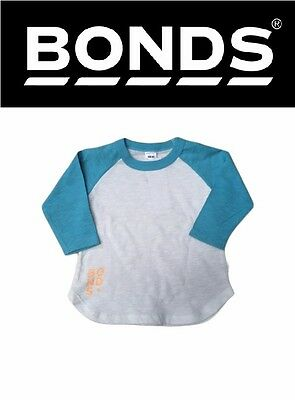 New Baby Kids Bonds Girls Boys Long Sleeve Raglan Blue White Tee Sizes 00 0 1 2