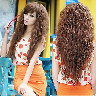 Femmes Long Corn Curly Wavy Full Wigs bouclés Cheveux ondulés Perruque Cosplay