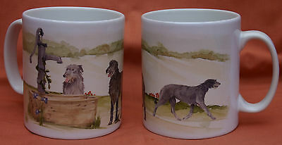 SCOTTISH DEERHOUND DOG MUG Off to the Dog Show painting Sandra Coen artist print