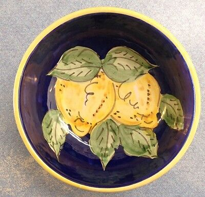 Vietri Pottery-6inch bowl blu lemon.Made/Painted by hand in Italy