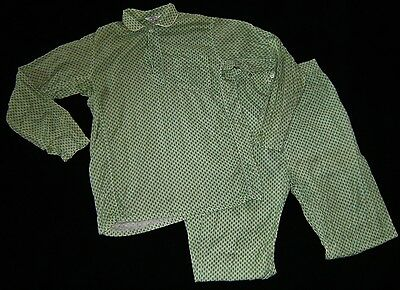 Vintage KAYNEE Boys 2 Pc Pajama Set GREEN & WHITE Checker SZ. 18 Dynaflex