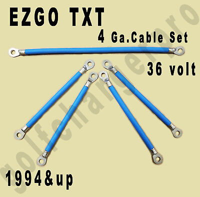EZGO TXT Golf Cart 36V 4 Ga BLUE HD Battery Cable Set CRIMPED & SOLDERED ENDS