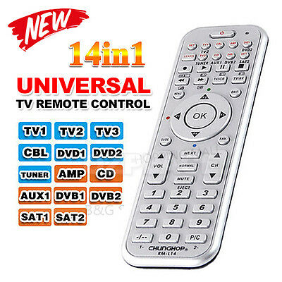 TV Universal Remote Control Multibrand Automatic Setup DVD CD TUNER AUX AMP SAT