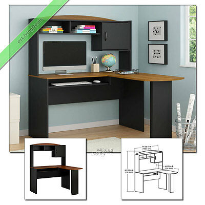 Home Office Desk with Hutch L-Shaped Wood Corner Computer Desks, Black & Cherry