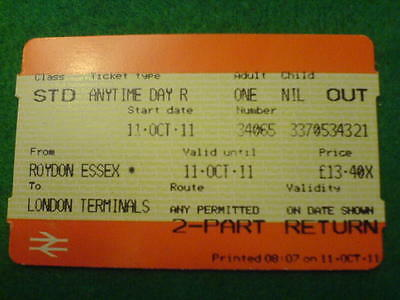 BR TICKET - Roydon Essex to London Terminals Std (Out)