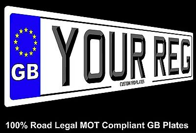 PAIR of GB STANDARD OR 3D FONT CAR NUMBER PLATES MOT COMPLIANT WITH  BORDER