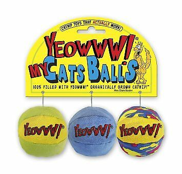 Ducky YEOWWW My Cats Balls Assorted Colors Organically Grown Catnip toy 3 pack