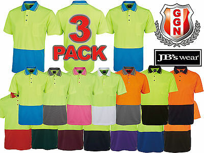 3x JBS HI VIS Work Polo NON CUFF,14 COLORS,SAFETY WORKWEAR,SHORT SLEEVE 6HVNC