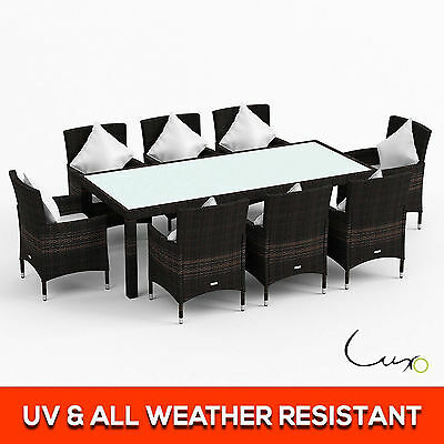 New 9 Piece 8 Seater PE Wicker Outdoor Dining Table Furniture Setting - Brown