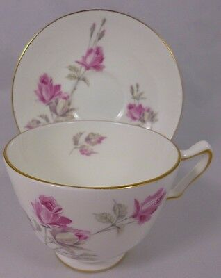 Vintage Crown Staffordshire England Bone China Rose Tea Cup and Saucer