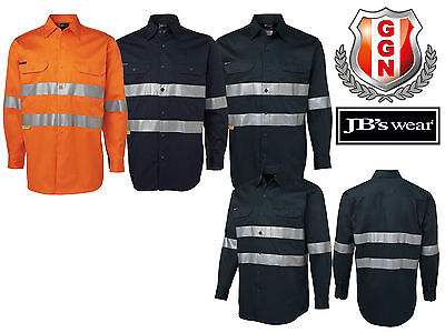 Jbs 190G Cotton Drill Shirt,safety Workwear,3M Reflective Tape,long Sleeve 6Hdnl