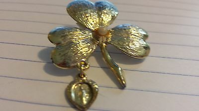Vintage Clover Broach Pin with Pearl Center Mother Mary Charm Gold Tone