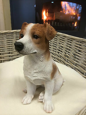 Jack Russell Terrier puppy , Jack Russell garden statue Figure sitting pup