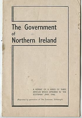 Old 1948 Booklet The Government of Northern Ireland Ulster Unionist Council