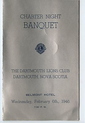 Old 1946 Lions Club Charter Night Banquet Program Halifax NS