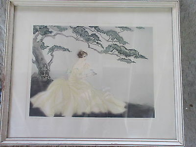 Old Vintage Colored Etching Print The Songbird Signed Cervenka