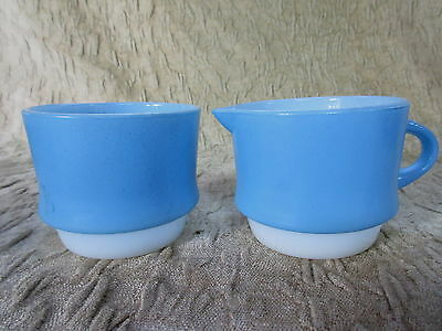 Old Retro Set Anchor Hocking Fire King Powder Blue Milk Glass Cream & Sugar