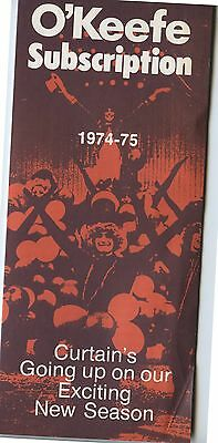Old 1974-75 O'Keefe Center Theatre Subscription Brochure