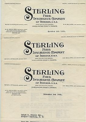 3 Old 1922 Sterling Fire Insurance of Indiana Letter Heads