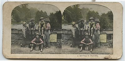 Antique Stereoview Lithograph A Meeting in Boyville