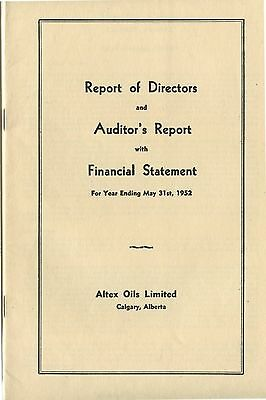 Old 1952 Altex Oils Limited Report of Directors Financial Statement
