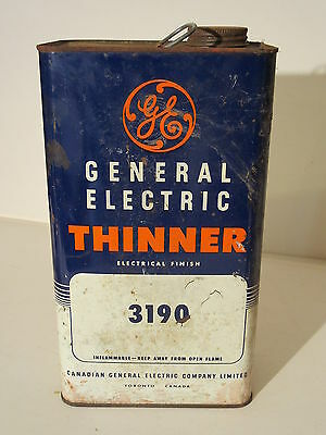 Old GE General Electric Thinner Advertising Tin Can