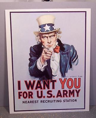 "Vintage 1976 Uncle Sam ""i Want You"" U.s. Army Recruiting Poster, Man Cave"