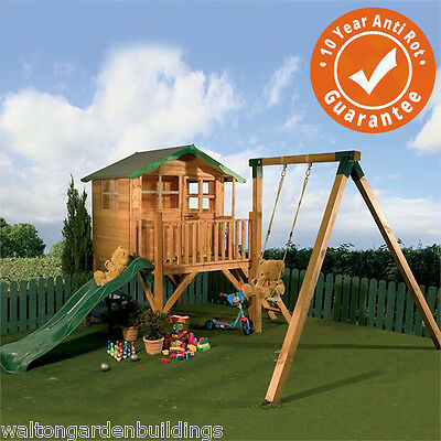 Childrens 5x5 Wooden Playhouse Poppy - Tower, Slide, Swing, T&G Play Centre