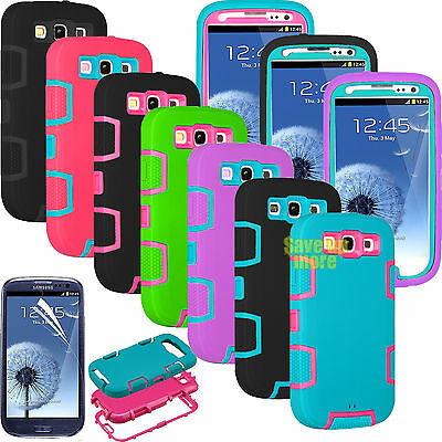 For Samsung Galaxy S3 Shokproof Hybrid Rubber Case Cover And Screen Protector