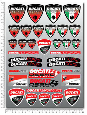 DUCATI CORSE decals set 9.4x12.6 in sheet 35 stickers 848 899 1098 1198 1199