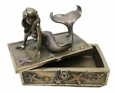 Fantasy Decorative Mermaid on Treasure Chest Jewelry Box Ocean Sea Collectible