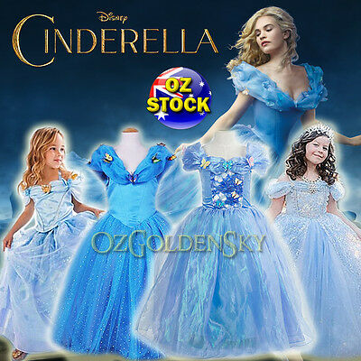 Girls Disney Cinderella Costume 2015 BallGown Birthday Tutu Princess Dress 2-10Y