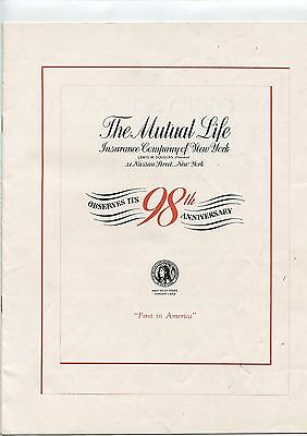 Old 1941 Mutual Life Insurance 98th Anniversary Booklet