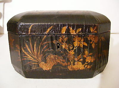 Antique Japanese Laquerware Tea Caddy Handpainted