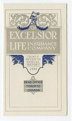 Old 1926 Excelsior Life Insurance Annual Report Booklet Toronto