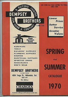 Old Spring Summer 1970 Dempsy Brothers Home Hardware Catalog Willowdale Ontario