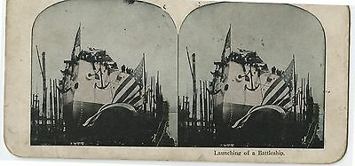 Antique Stereoview Launching a Battleship
