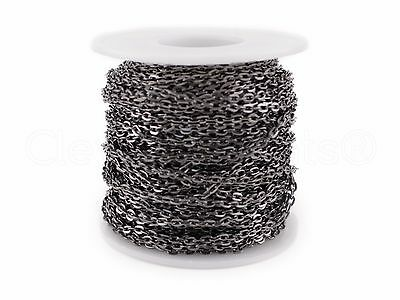 Cable Chain Spool - 100 Feet - Gunmetal (Dark Silver) - 3x4mm Link - Rolo Bulk