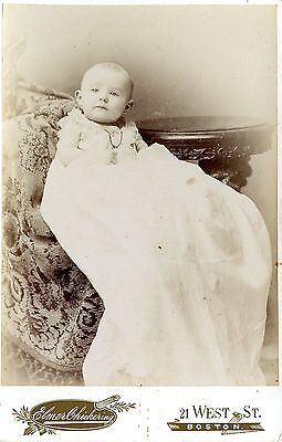 Old b/w photo cabinet photo baby girl in christening dress