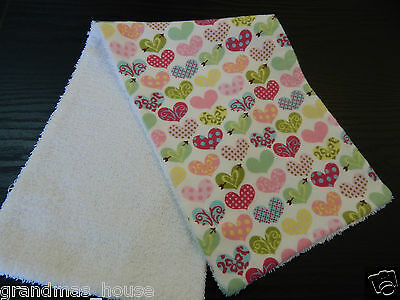 Whimsy Hearts Burp Cloth ONE ONLY Towelling Backed GREAT GIFT IDEA!!
