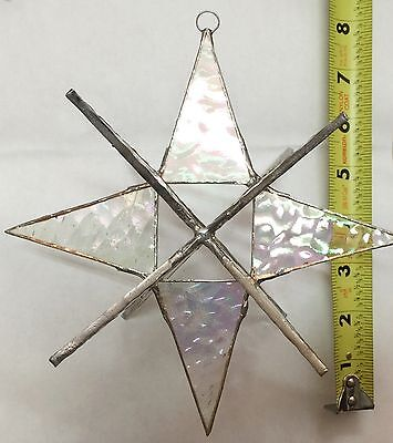 Gigantic 7 Inch Moravian Stained Glass Clear  Star - Handmade Suncatcher !!!!!