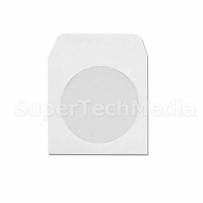 100 CD DVD White Paper Sleeves with Flap & Clear Window, Ship From USA