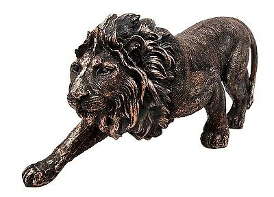 "Leonine Lion Safari Large Figurine 12"" Long Leo Rex Sculpture Home Decoration"