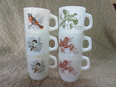 Set of 6 Retro Fire King Anchor Hocking Birds D Handle Stacking Coffee Mugs