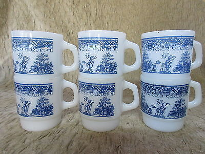Old Set 6 Fire King Anchor Hoicking Blue Willow D Handle Stacking Mugs