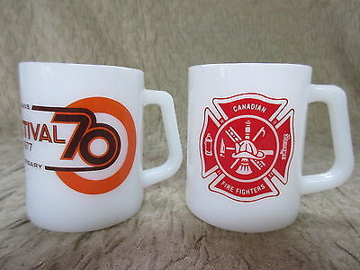2 Old Retro Federal Milk Glass Coffee Mugs Canadian Fire Fighters Stedmans 1977