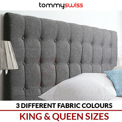 TOMMY SWISS: KING & QUEEN Upholstered Fabric Bedhead Headboard for Bed Frame